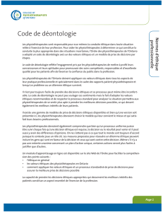 Code de déontologie - College of Physiotherapists of Ontario