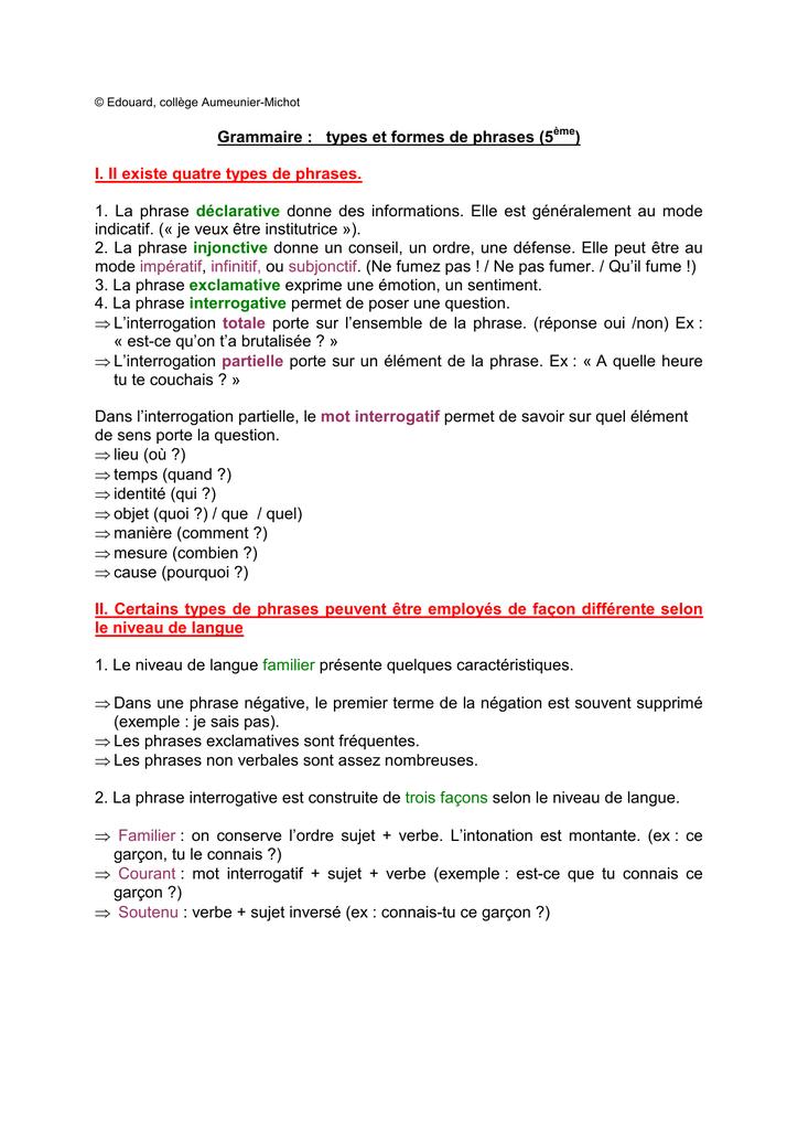Grammaire : types et formes de phrases (5 ) I. Il existe ...