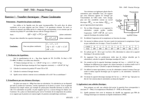 Exercice 1 : Transfert thermiques – Phases Condensées