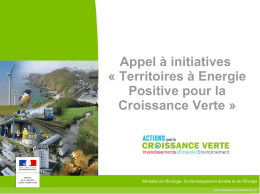 Appel à initiatives « Territoires à Energie Positive pour la