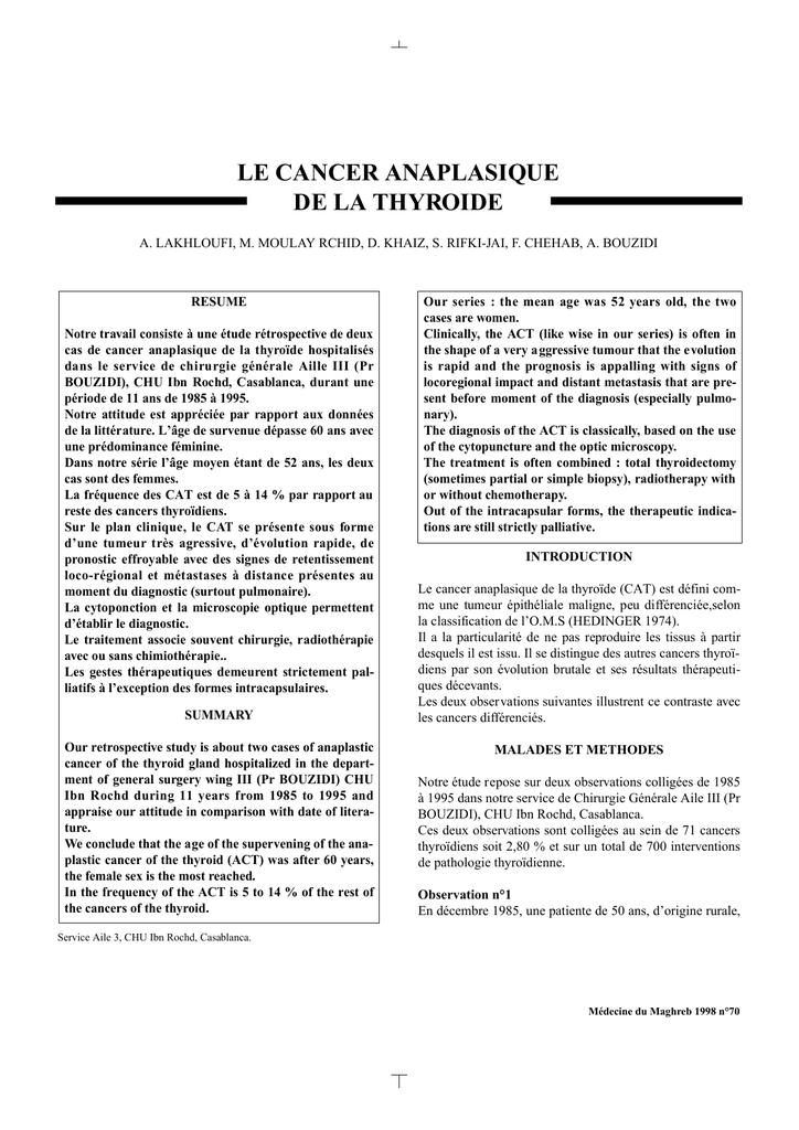 LE CANCER ANAPLASIQUE DE LA THYROIDE