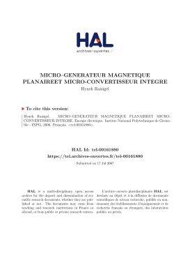 MICRO–GENERATEUR MAGNETIQUE PLANAIREET