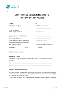 Contrat cession intervention filmée