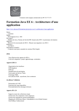 Formation Java EE 6 : Architecture d`une application à
