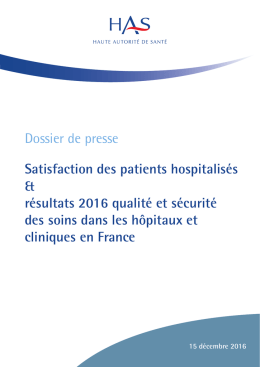 Dossier de presse Satisfaction des patients hospitalisés