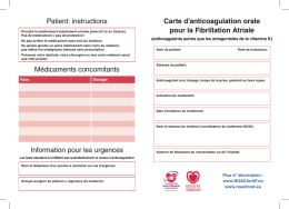 Carte d`anticoagulation orale pour la Fibrillation Atriale Patient