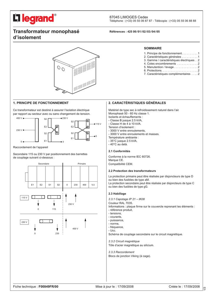 Branchement du transformateur basse tension