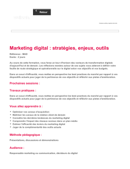 Marketing digital : stratégies, enjeux, outils