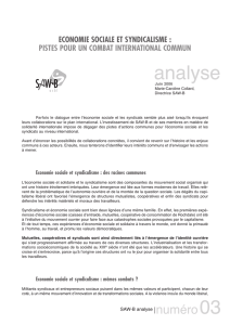 Economie sociale et syndicalisme international - Saw-B