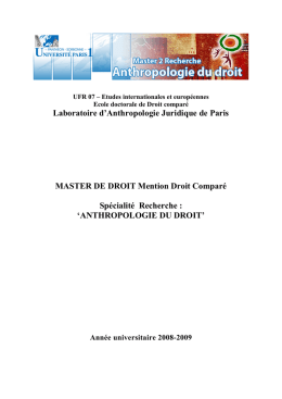 Laboratoire d`Anthropologie Juridique de Paris MASTER