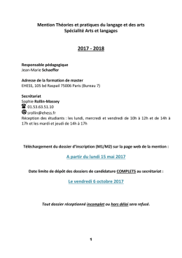 Notice admission Arts et langages 2017-2018