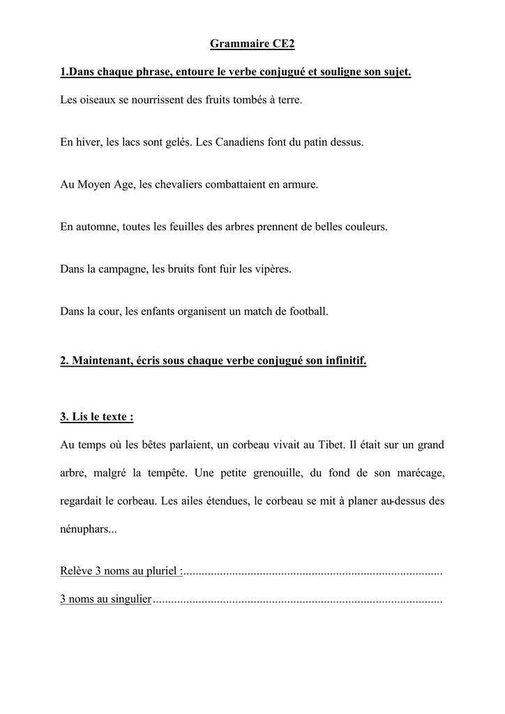 Grammaire Ce2 1 Dans Chaque Phrase Entoure Le Verbe Conjugue