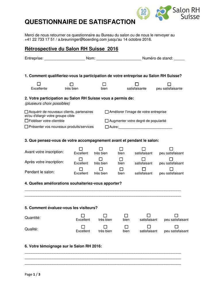 Questionnaire - Salon RH Suisse