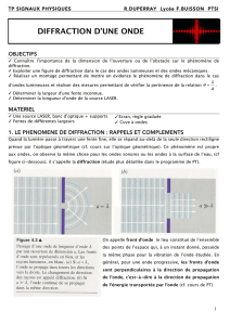 DIFFRACTION D`UNE ONDE
