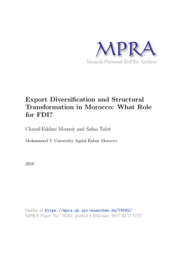 Export Diversification and Structural Transformation in Morocco