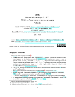 Master informatique 2 – STL Notes III