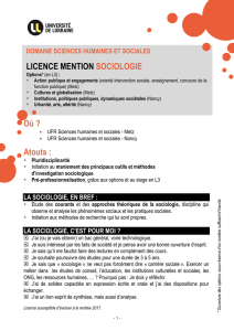 Où ? Atouts : LICENCE MENTION SOCIOLOGIE - UFR SHS-Metz