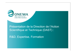 Présentation de la Direction de l`Action Scientifique et Technique