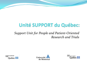 Quebec SUPPORT Unit: Support for Patient