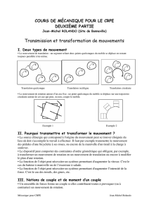 Transmission et transformation de mouvements