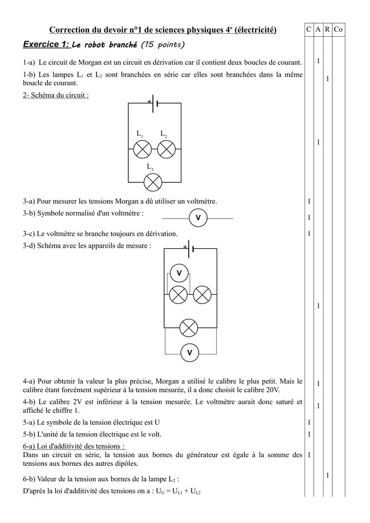 Correction Du Devoir N 1 De Sciences Physiques 4e Electricite