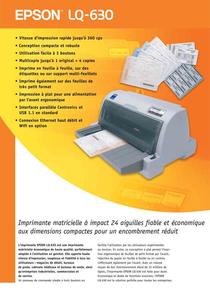 Epson Lq-630 imprimante matricielle ultra compacte 24 Aiguilles 80 Colonnes