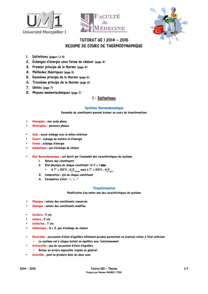 3ac8bf91f TUTORAT UE 1 2014 – 2015 RESUME DE COURS DE THERMODYNAMIQUE 1. 2. 3. 4. 5. 6.  7. 8. Définitions (pages 1 à 3) Échanges d énergie sous forme de chaleur  (page ...