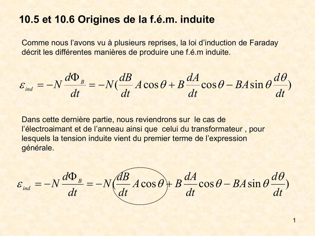 10 5 Et 10 6 Origines De La F E M Induite