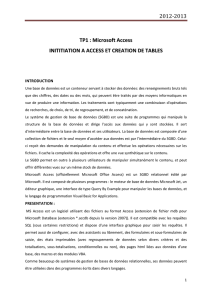 2012-2013 TP1 : Microsoft Access INITITIATION A ACCESS ET