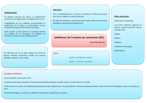 Inhibiteurs de l`enzyme de conversion (IEC) - Fiches