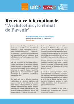 "Rencontre internationale ""Architecture, le climat de l`avenir"""