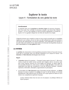 Formulation du sens global du texte