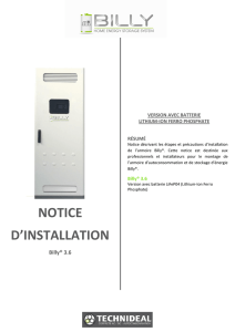 Notice d`installation BILLY LIFEPO4