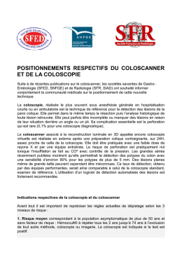 Positionnement respectif du coloscanner et de la coloscopie