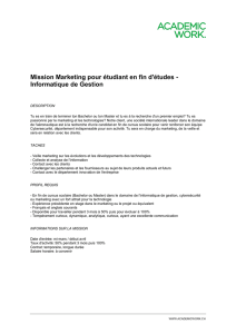 Mission Marketing pour étudiant en fin d`études
