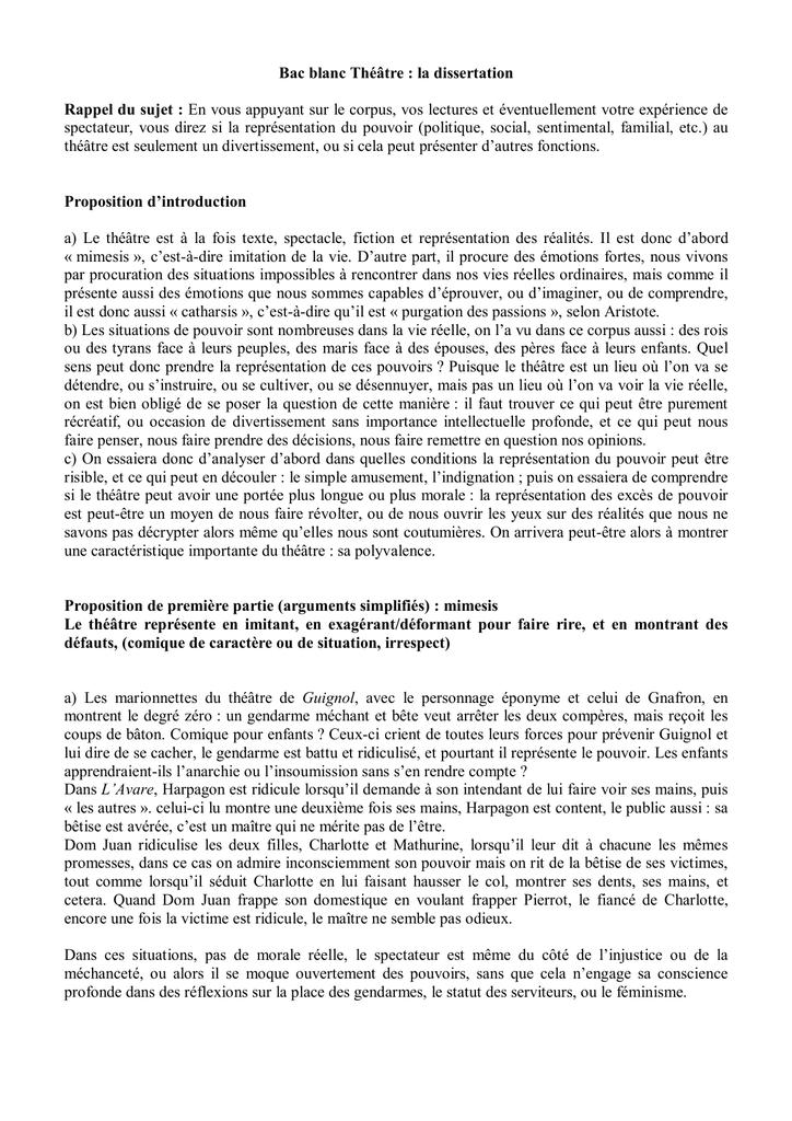 introduction dissertation sur le théatre