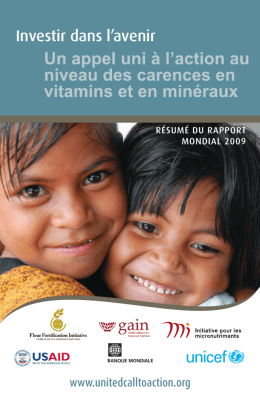 Investir dans l`avenir - a United Call to Action on Vitamin and Mineral