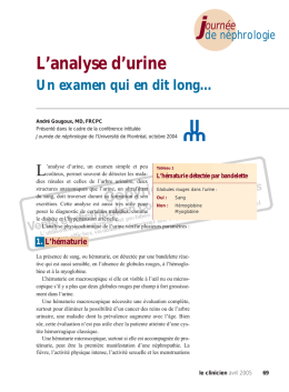 069-Dr Gougoux-analyse d`urine - STA HealthCare Communications
