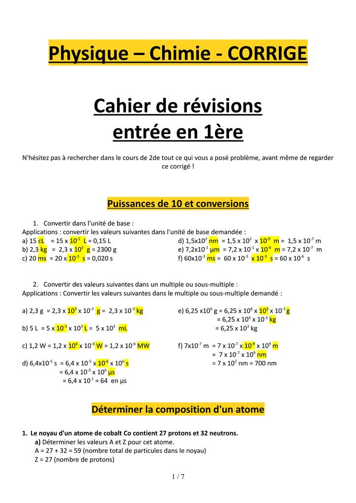 Physique - Chimie - CORRIGE Cahier de révisions entrée en 1ère