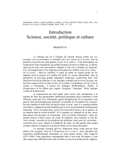 Introduction Science, société, politique et culture