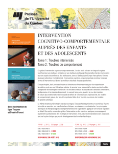 INTERVENTION COGNITIVO-COMPORTEMENTALE AUPRèS DES