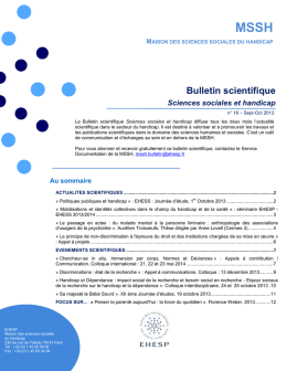 Bulletin scientifique N° 16 de sept-oct 2013 - MSSH