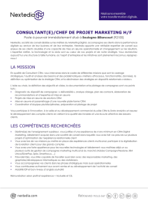 consultant(e)/chef de projet marketing h/f la mission les