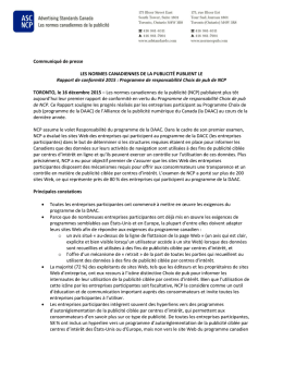 Communiqué de presse - Advertising Standards Canada