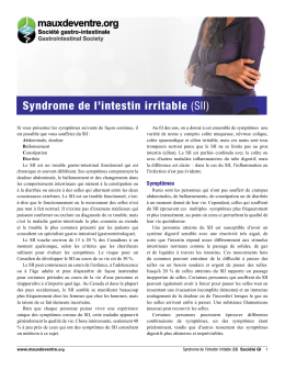 Syndrome de l`intestin irritable (SII)