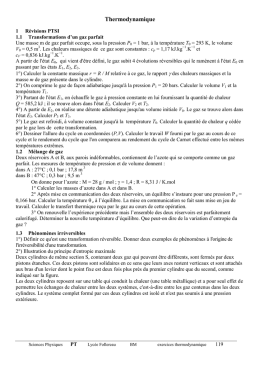Exercices de thermodynamique