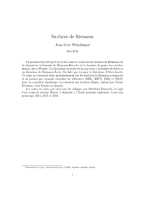 Surfaces de Riemann - Institut Camille Jordan