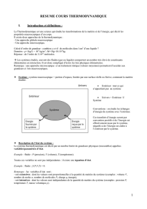 RESUME COURS THERMODYNAMIQUE