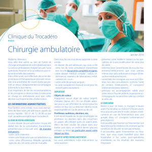 Chirurgie ambulatoire - Clinique du Trocadéro