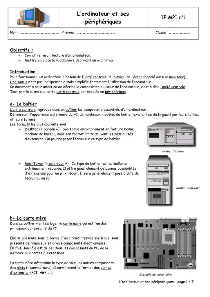 Bien connu MPI TP n°01 - L`ordinateur et ses périphériques CW02